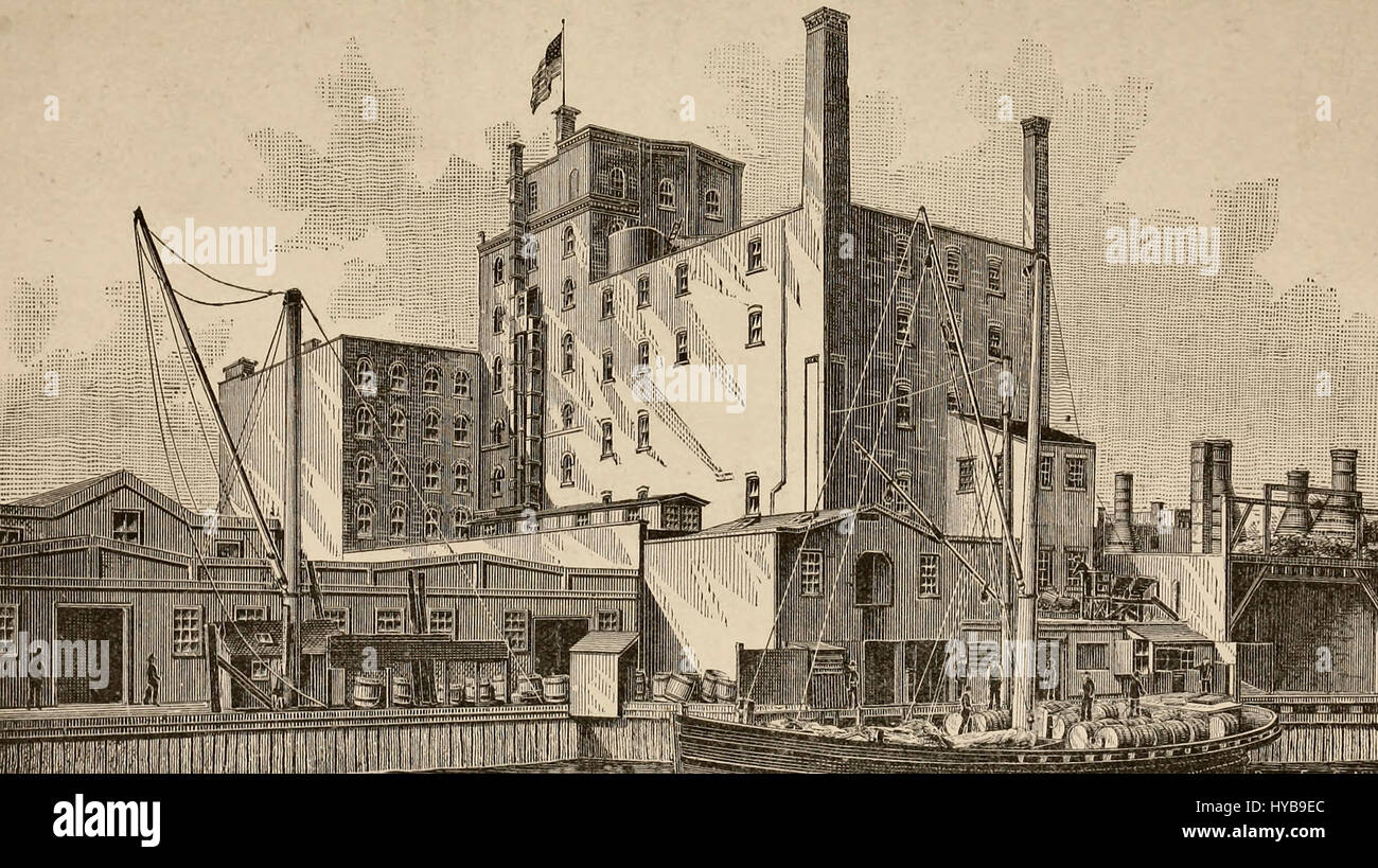 Havemeyers, Eastwick & Company's Sugar Refinery, Jersey City, New Jersey, circa 1880 - Stock Image