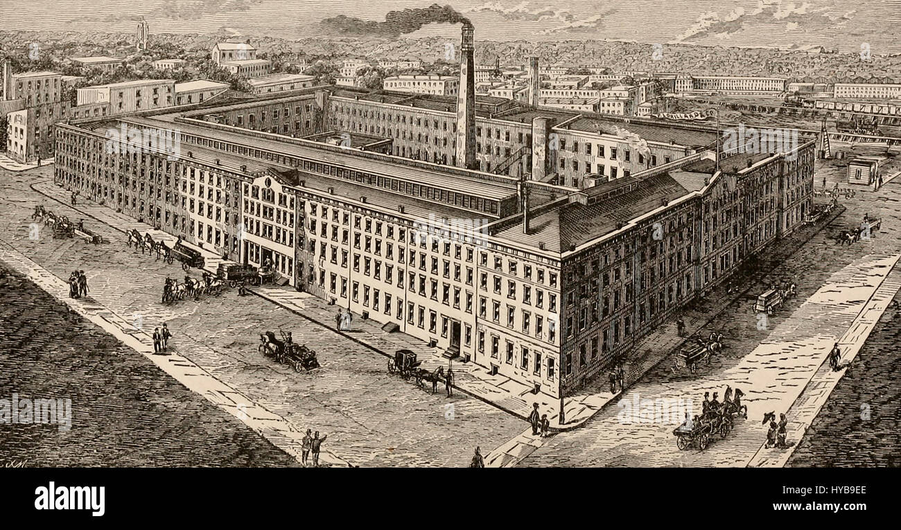 P Lorillard & Company's Tobacco Works, Jersey City, New Jersey, circa 1880 - Stock Image