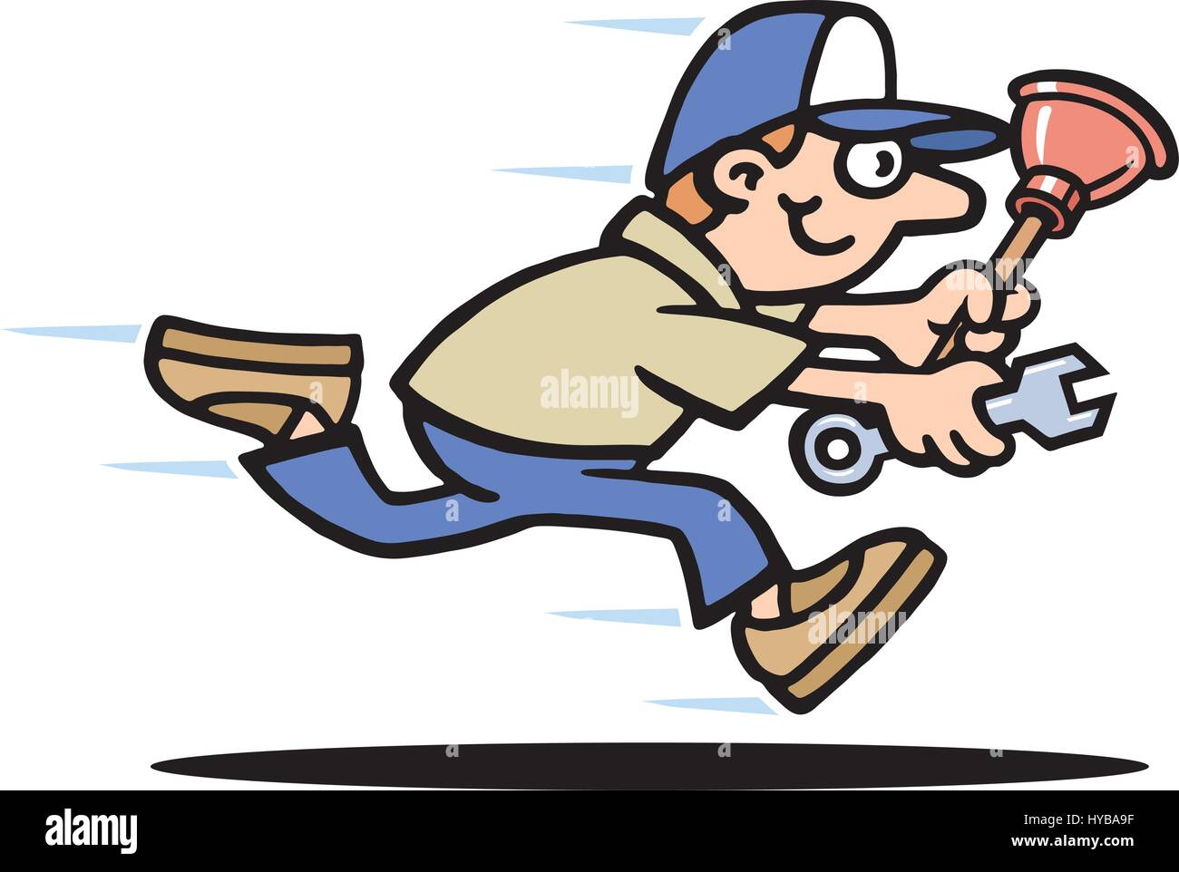Mr Plumber Vector Illustration. Running Late. - Stock Image
