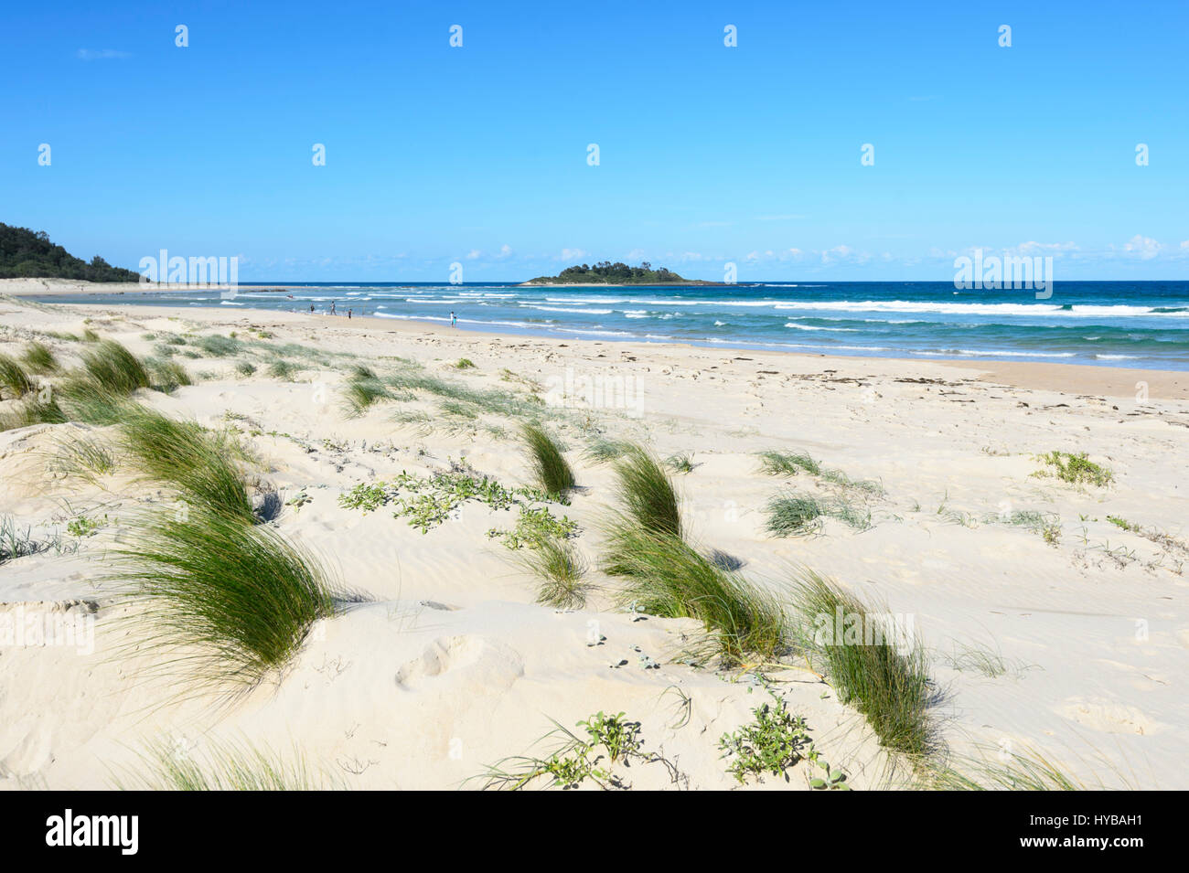 People strolling on  Conjola Beach, Shoalhaven, South Coast, New South Wales, NSW, Australia Stock Photo