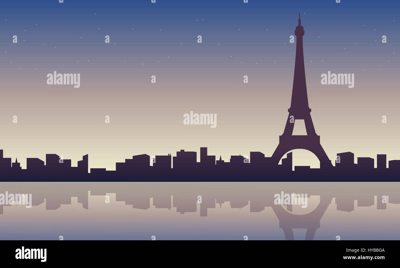 Collection of eiffel tower scenery silhouettes - Stock Vector