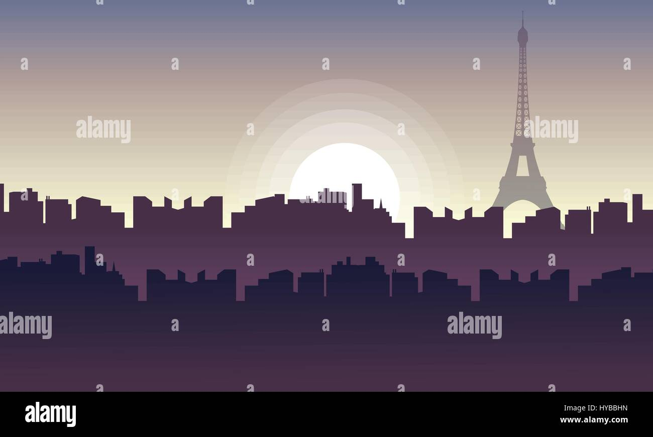 Silhouette of city France with eiffel tower - Stock Vector
