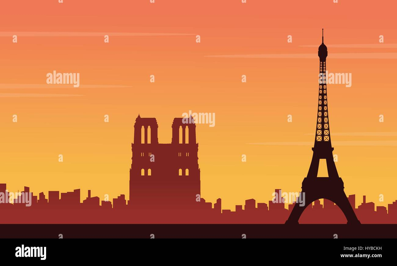 Eiffel tower scenery silhouette backgrounds - Stock Vector