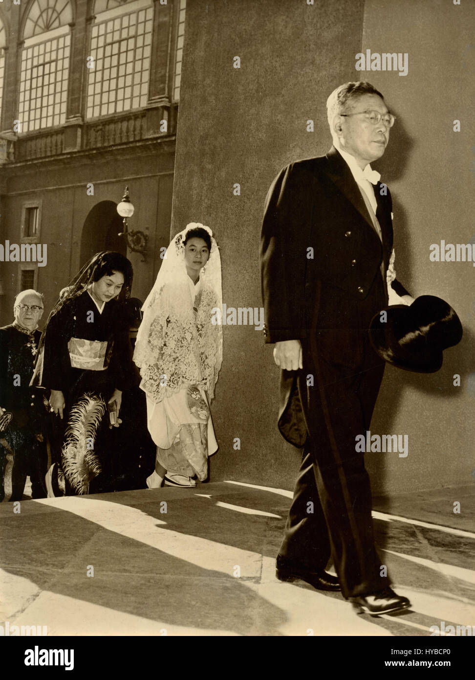 Japonese Prime Minister Hayato Ikeda accompanied by his wife and daughter, Vatican City - Stock Image