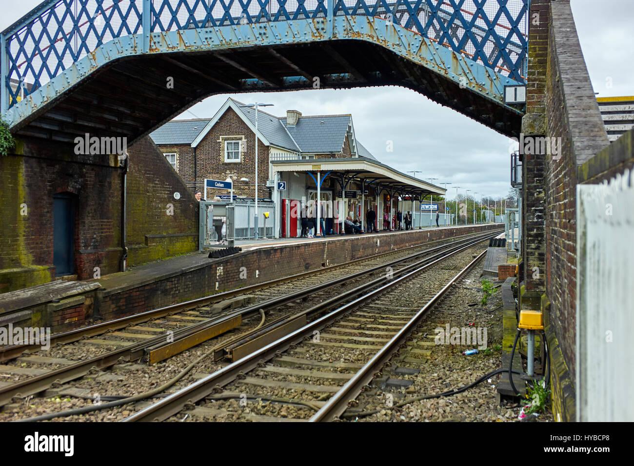 Cosham railway station and bridge Stock Photo