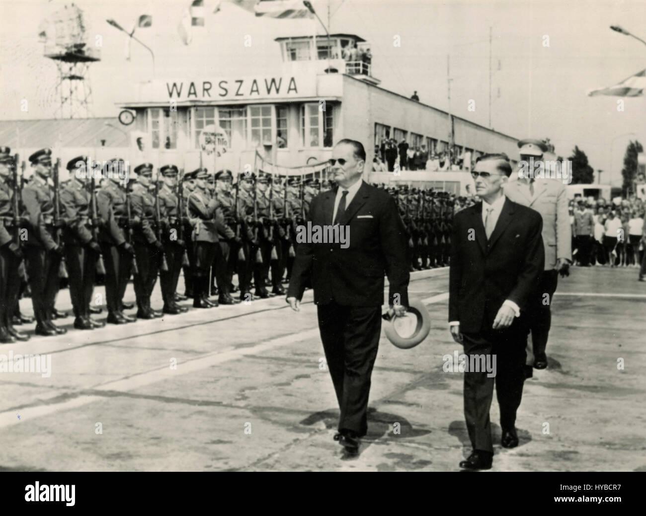 President of Yugoslavia Josip Broz Tito and Chairman of Poland Aleksander Zawadzki, Warsaw, Poland Stock Photo