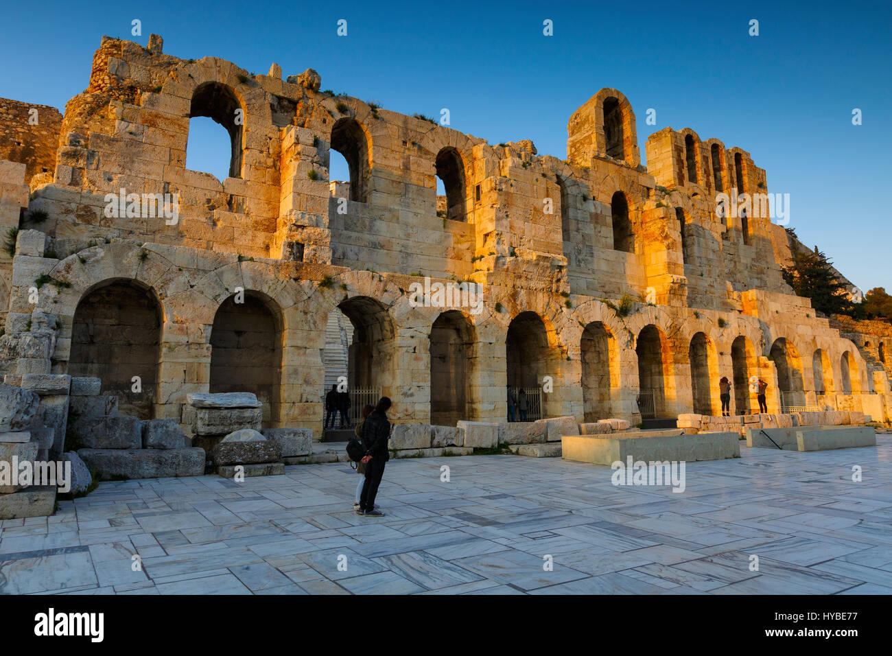 Remains of Odeon in the old town of Athens, Greece. - Stock Image