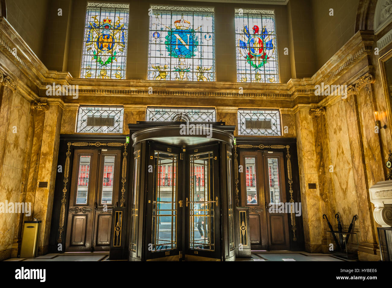 The entrance and foyer to Hotel Café Royal on Regent Street, Piccadilly, London, UK - Stock Image