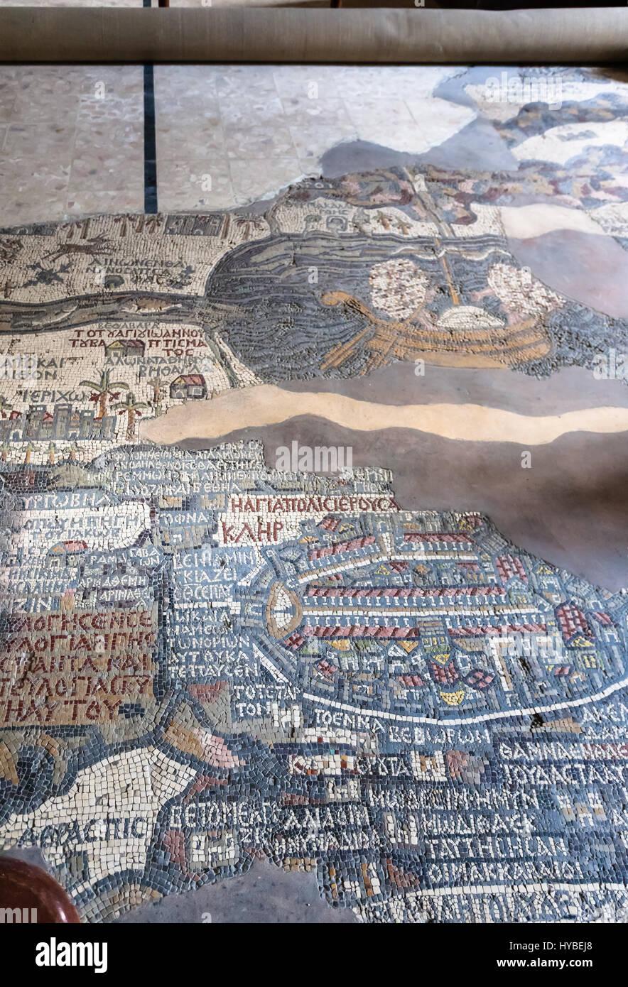 MADABA, JORDAN - FEBRUARY,20, 2012: pavement of Greek Orthodox St George Basilica in Madaba city with early Byzantine Stock Photo