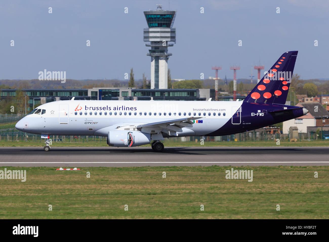 Brüssel/Belgian March 13, 2017: Superjet 100 from Cityjet at Brüssel Airport. - Stock Image