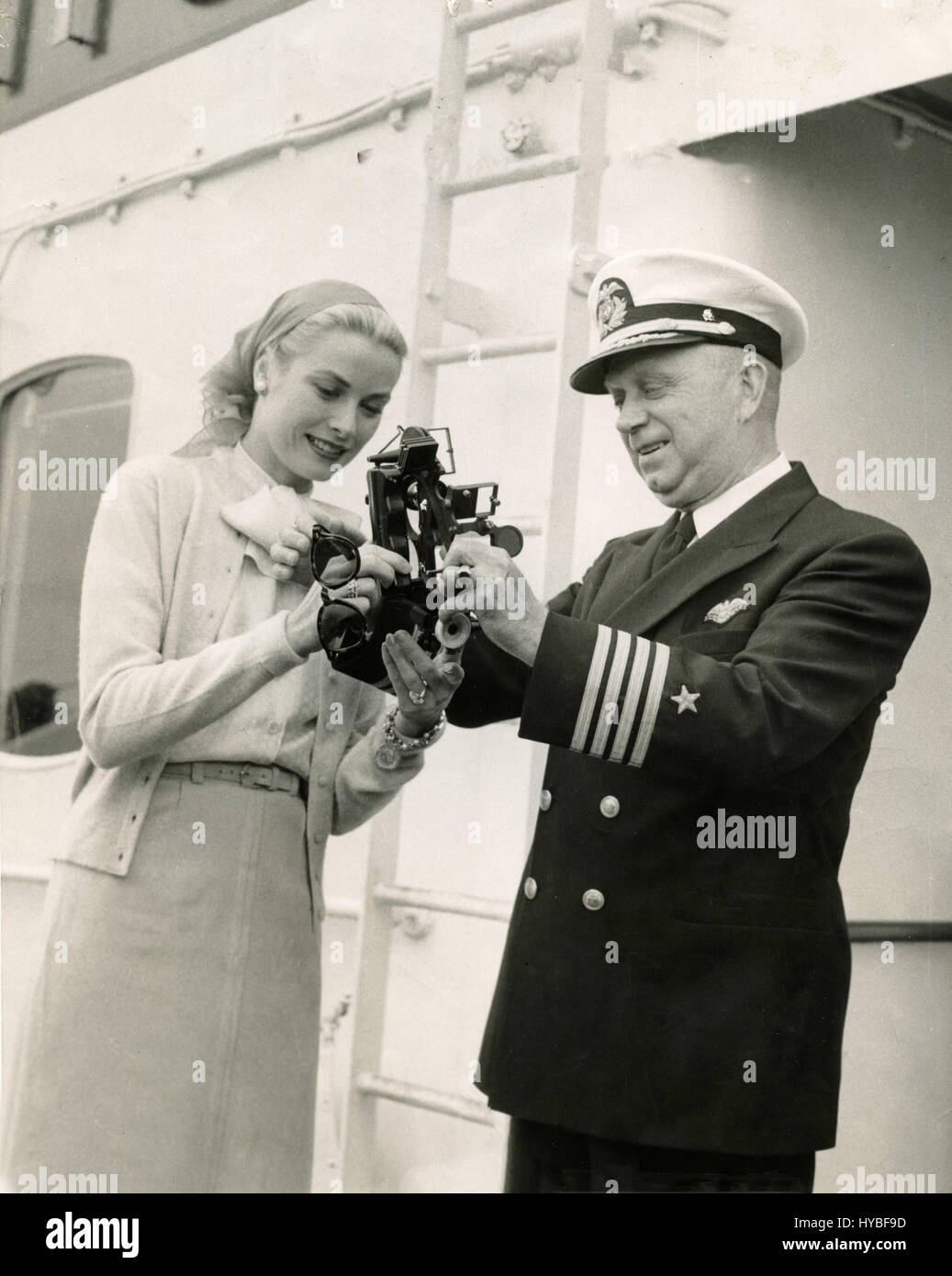 American actress Grace Kelly with Captain Nelson of the SS Constitution - Stock Image