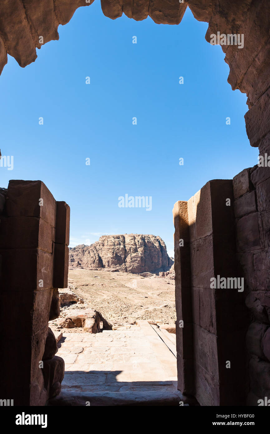 Travel to Middle East country Kingdom of Jordan - view from Urn Tomb of mountain landscape in Petra town Stock Photo