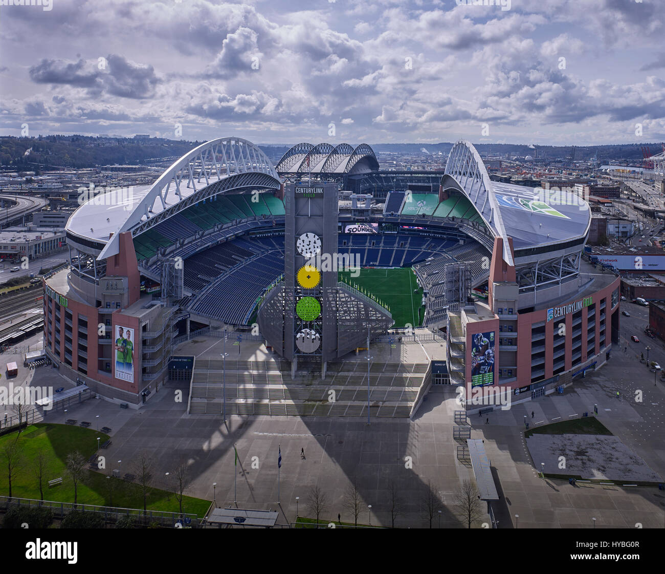 A view looking south at CenturyLink Field, home of the NFL Seattle Seahawks football team, in Seattle Washington. - Stock Image