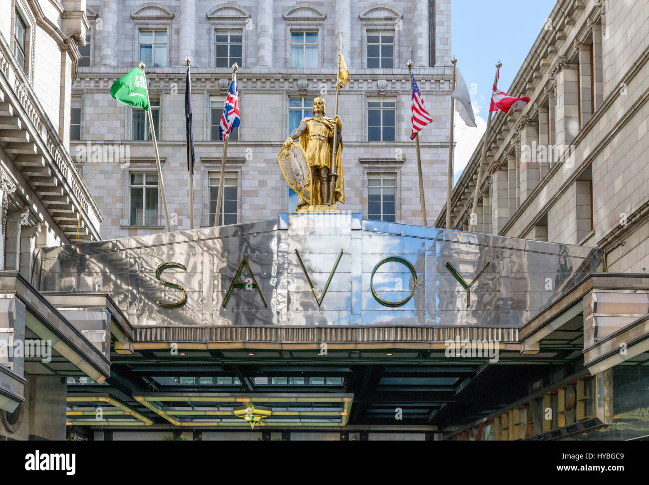 Savoy Hotel, London. Sign above the entrance to the Savoy Hotel, The Strand, London, England, UK - Stock Image