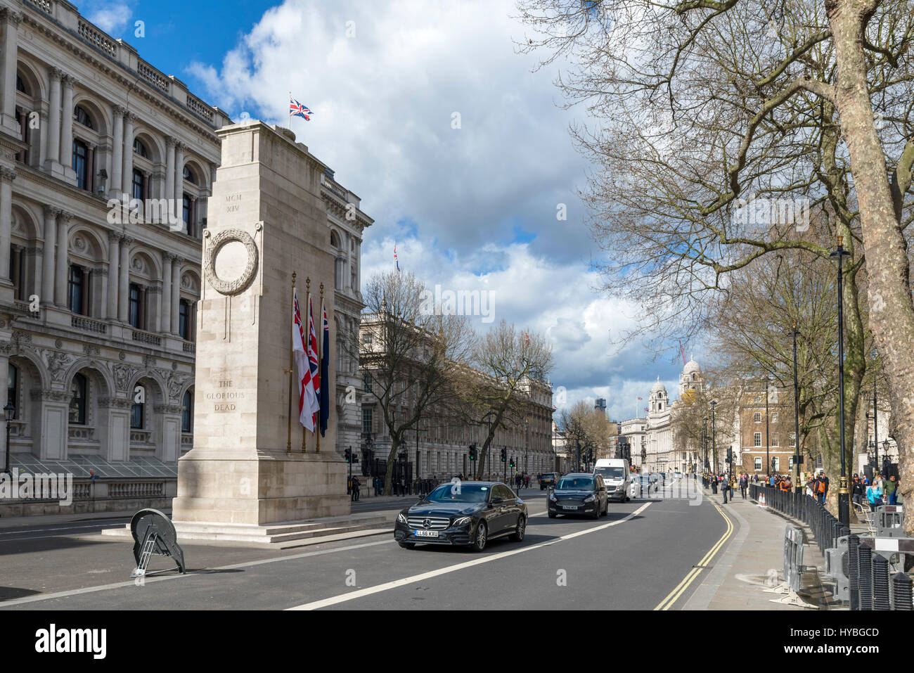 Whitehall with the Cenotaph to the left, Westminster, London, England, UK - Stock Image