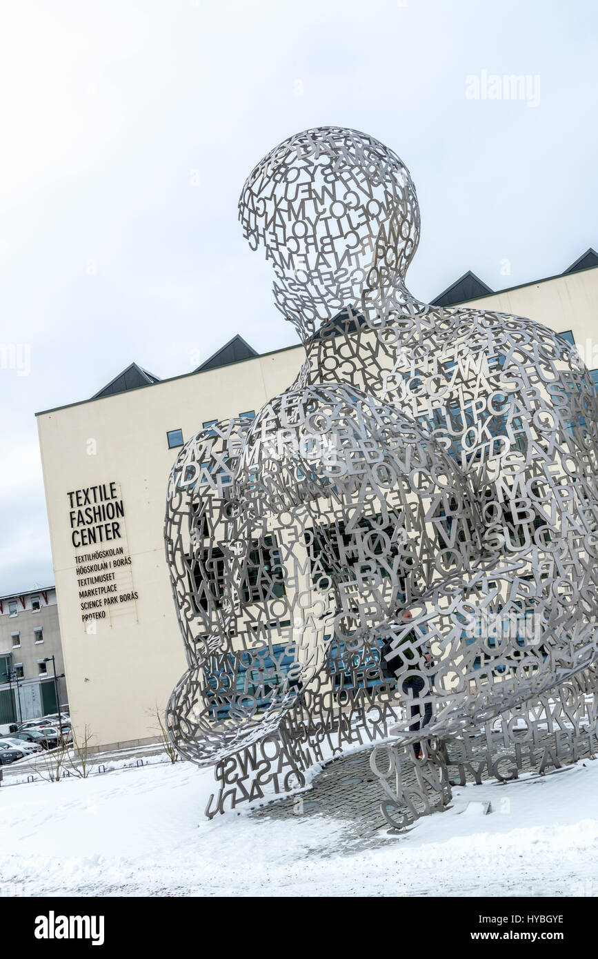 Textile Fashion Center in Boras, Sweden. in the foreground is the giant sculpture 'The House of Knowledge' - Stock Image