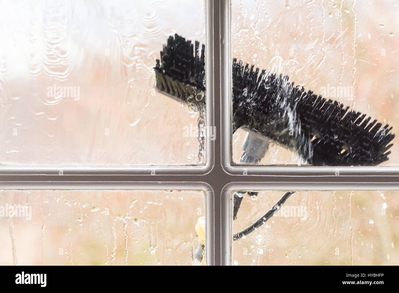 Window cleaning cleaners brush cleaning window seen from inside - Stock Image