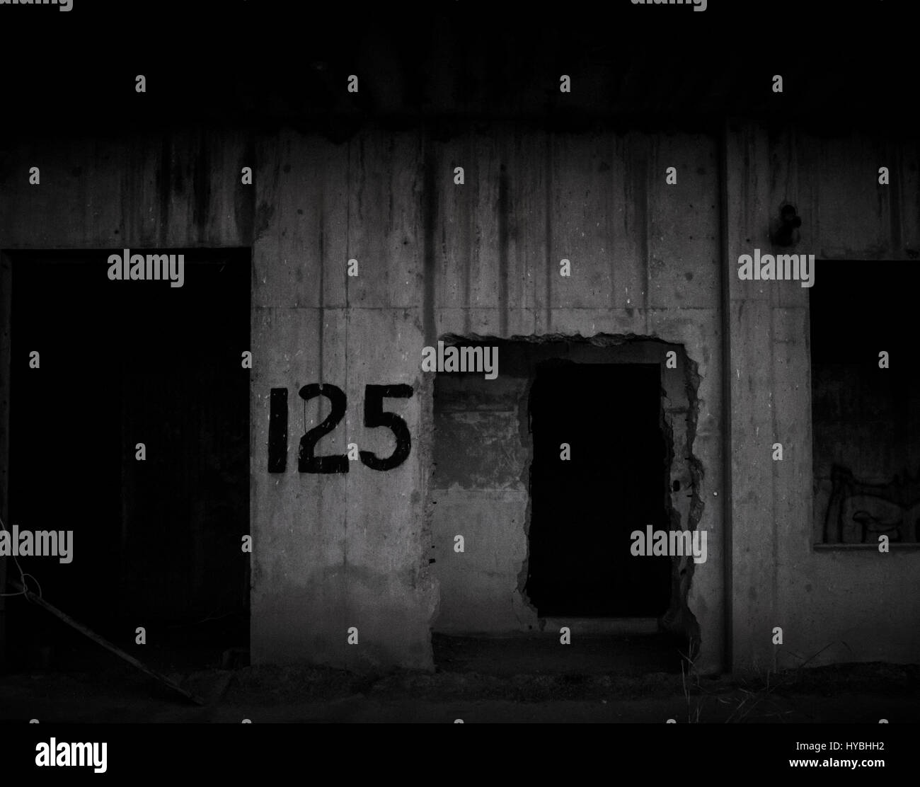Scary Concrete WW2 Building - Stock Image