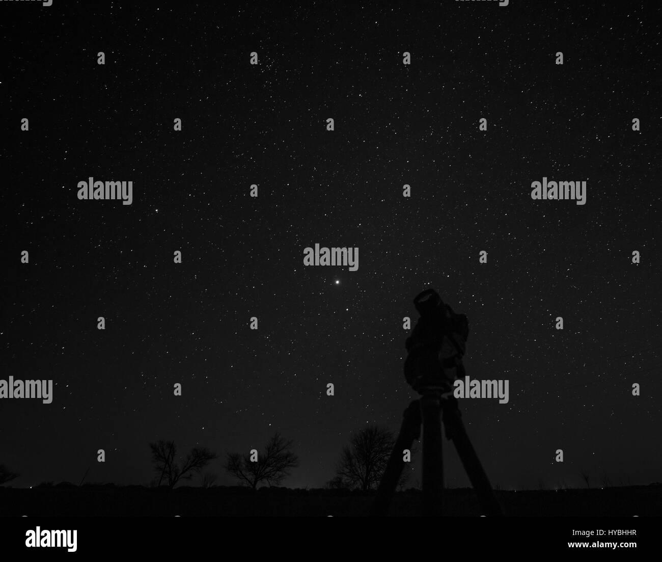 Camera Looking at Stars - Stock Image