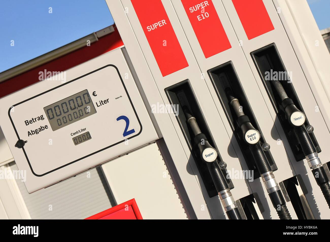 gas pump with 3 nozzles Stock Photo