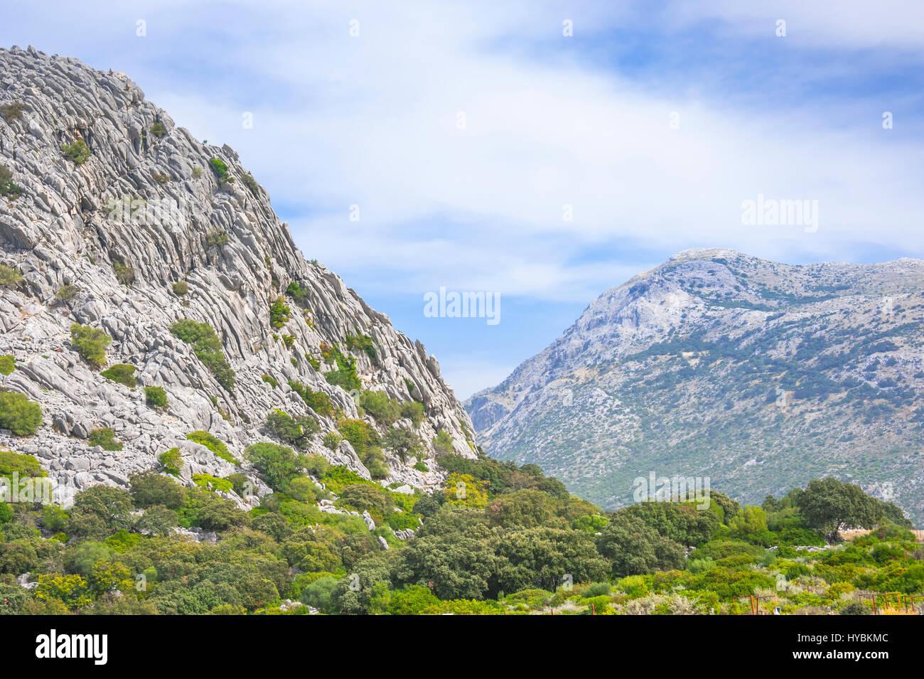 Mountains of the Ribera de Gaidovar in the mountain area of Ronda, Sierra de Grazalema, Andalusia, Spain - Stock Image