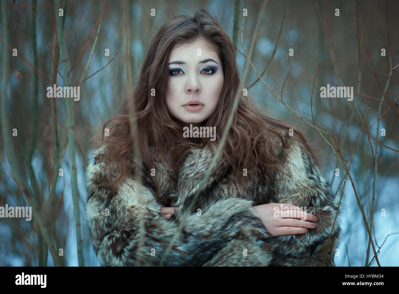 Portrait of a young woman in a winter park. On her fur coat. - Stock Image