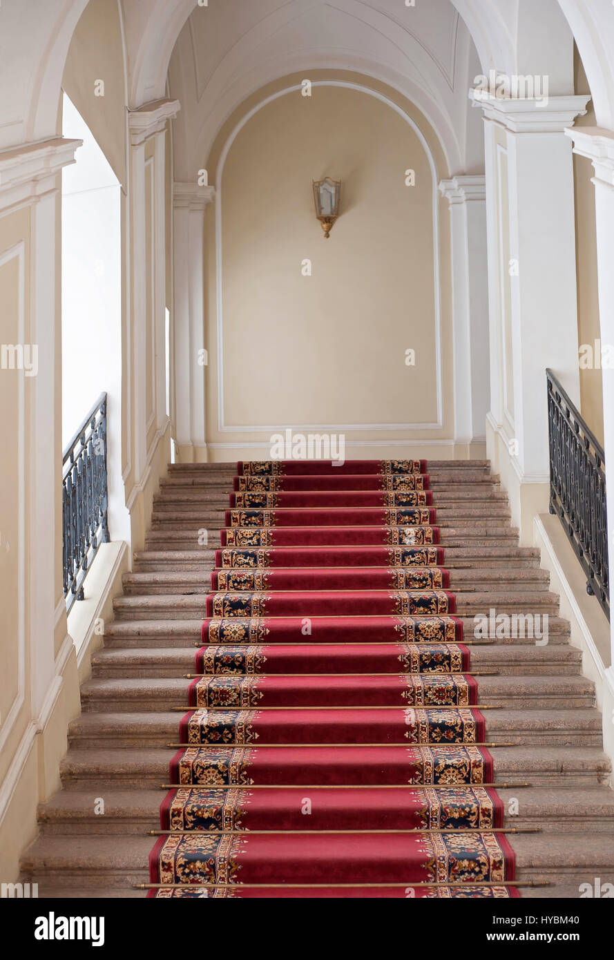 Royal Staircase Indoors With Red Carpet In Museum Stock