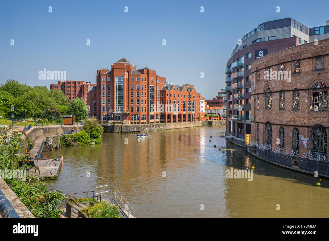 United Kingdom, South West England, Bristol, view of the Floating Harbour with redeveloped warehouses and the prominent - Stock Image