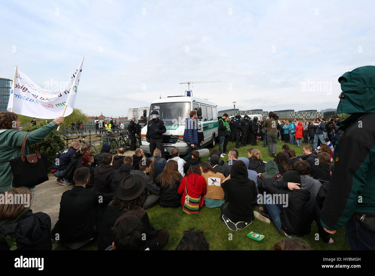 Berlin, Germany, May 9th, 2015: Antifa activists held sit blockade against the arrest of protesters. - Stock Image