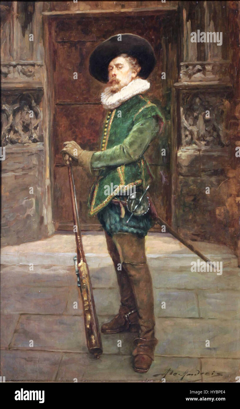 Cavalier With A Musket Standing Full Figure Before Gate By Alex De Andreis