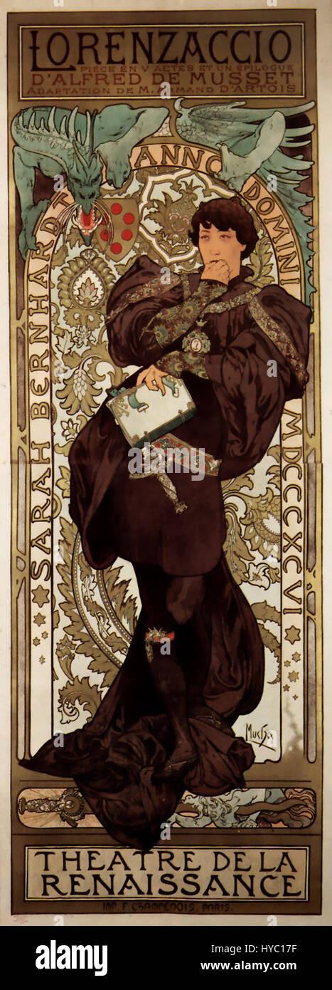 Alfons Mucha   1896   Lorenzaccio - Stock Image