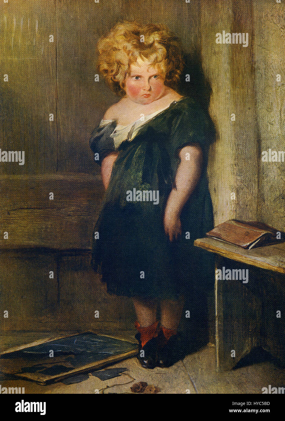 This painting, titled Naughty Child, is by the English painter, sculptor, and engraver  Sir Edwin Landseer (1802 Stock Photo