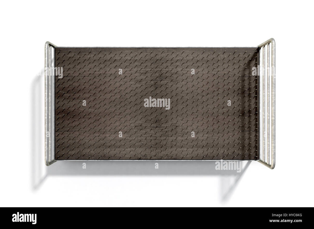 A metaphor showing a literal bed of nails with a metal frame on an isolated white studio background - 3D Render - Stock Image