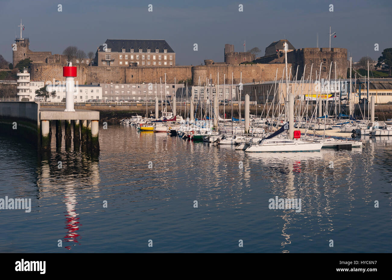 Brest (France), overlooking the port of Plaisance and the castle. - Stock Image