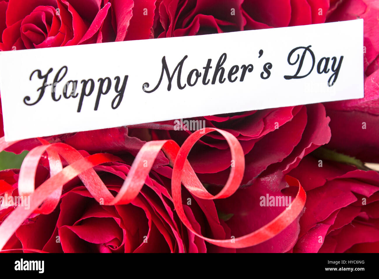 Happy Mothers Day Greeting Card With Bouquet Of Red Roses Close