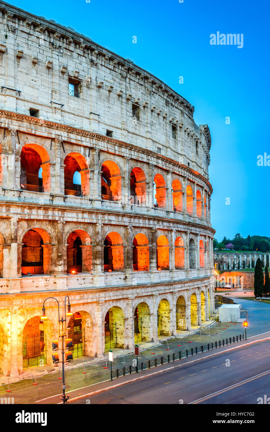 Rome, Italy. Colosseum, Coliseum or Coloseo,  Flavian Amphitheatre largest ever built symbol of ancient Roma city - Stock Image