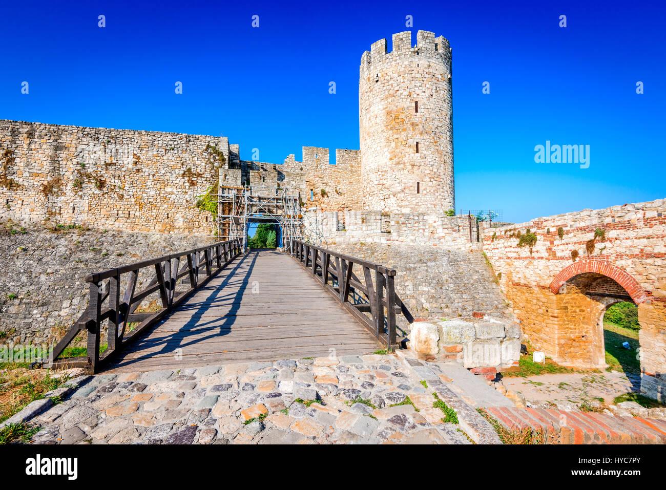 Belgrade, Serbia. Kalemegdan Fortress entrance, ancient Singidunum. - Stock Image