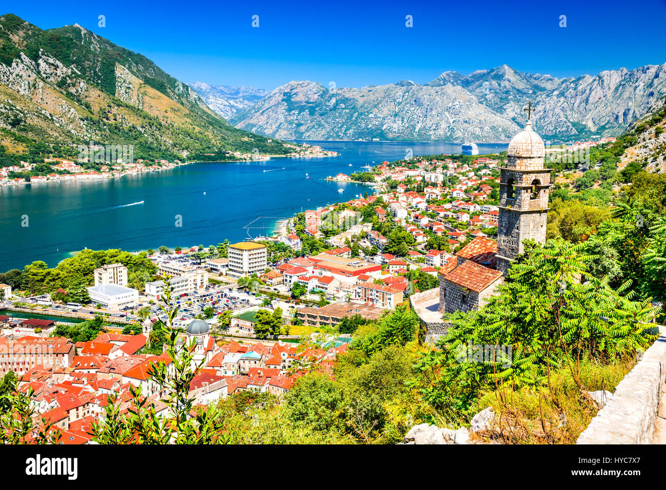 Kotor, Montenegro. Bay of Kotor bay is one of the most beautiful places on Adriatic Sea, it boasts the preserved - Stock Image