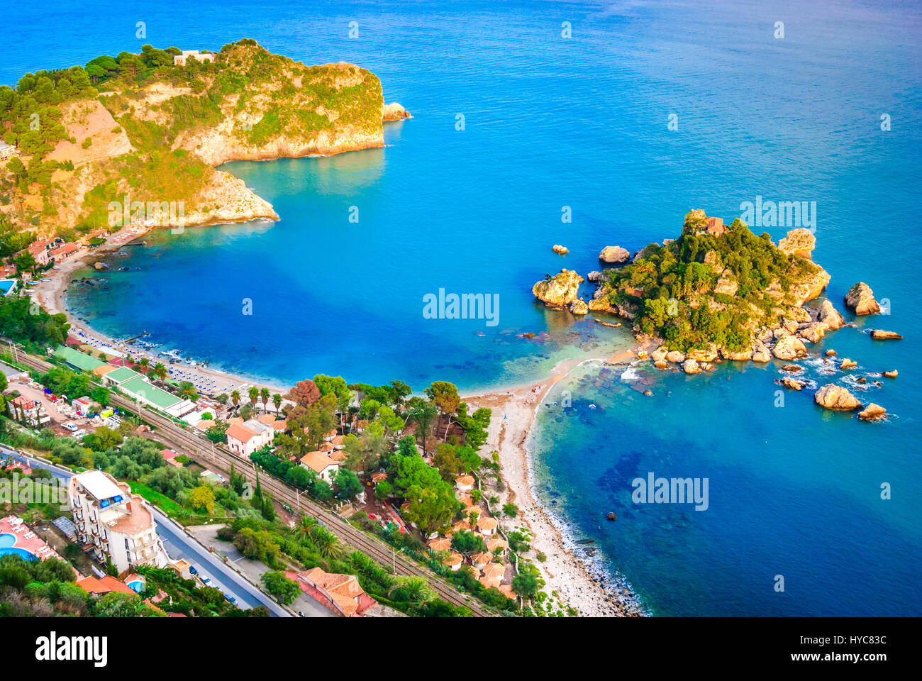Taormina, Sicily. Sicilian seascape with beach and island Isola Bella in Italy. - Stock Image