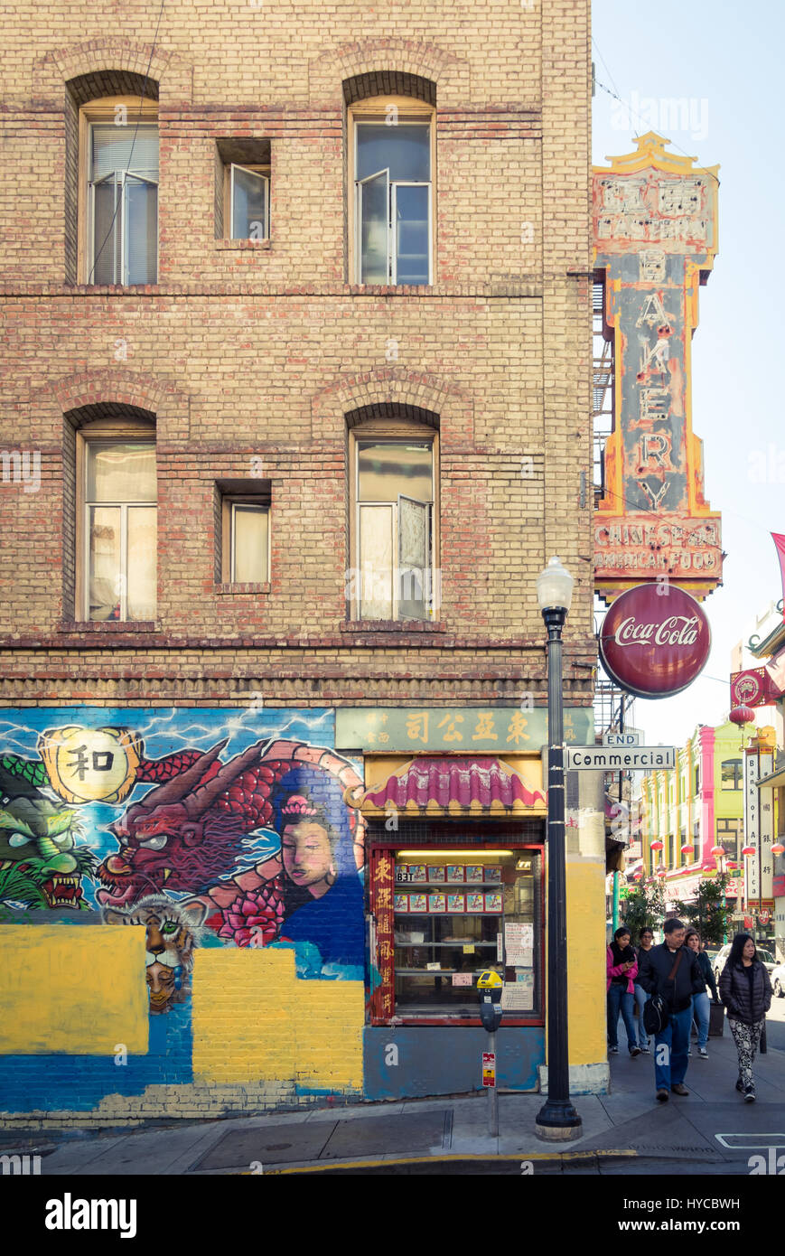 A view of the Eastern Bakery and an untitled mural by Francisco Aquino in Chinatown, San Francisco, California. - Stock Image