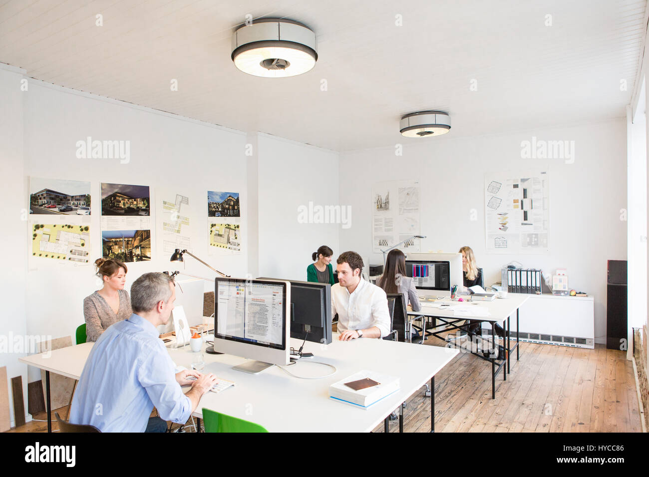 Colleagues in office sitting at desks using computers - Stock Image