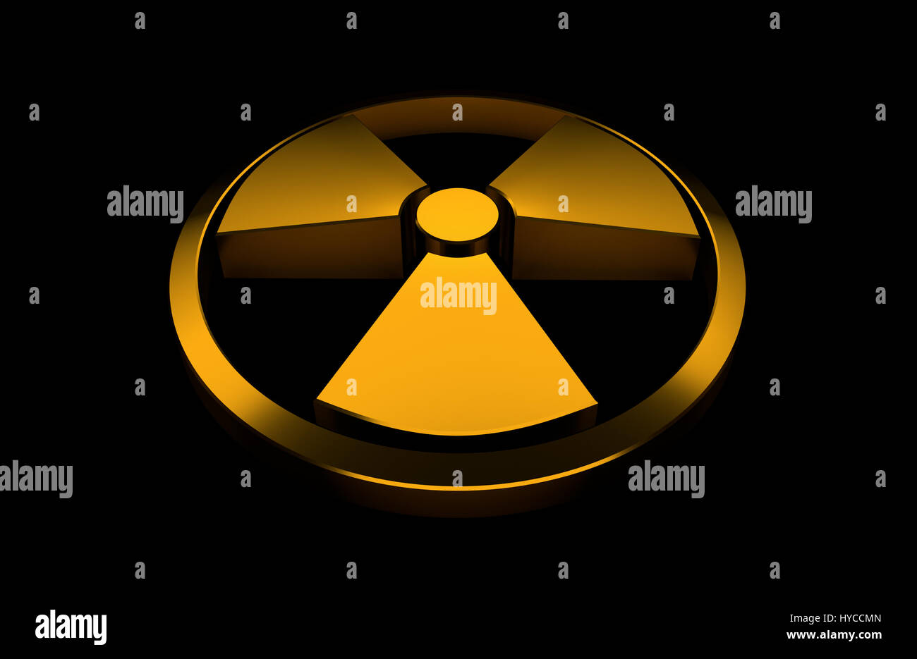 Nuclear symbol. Orange glossy object isolated on the black background. 3D render illustration. Stock Photo