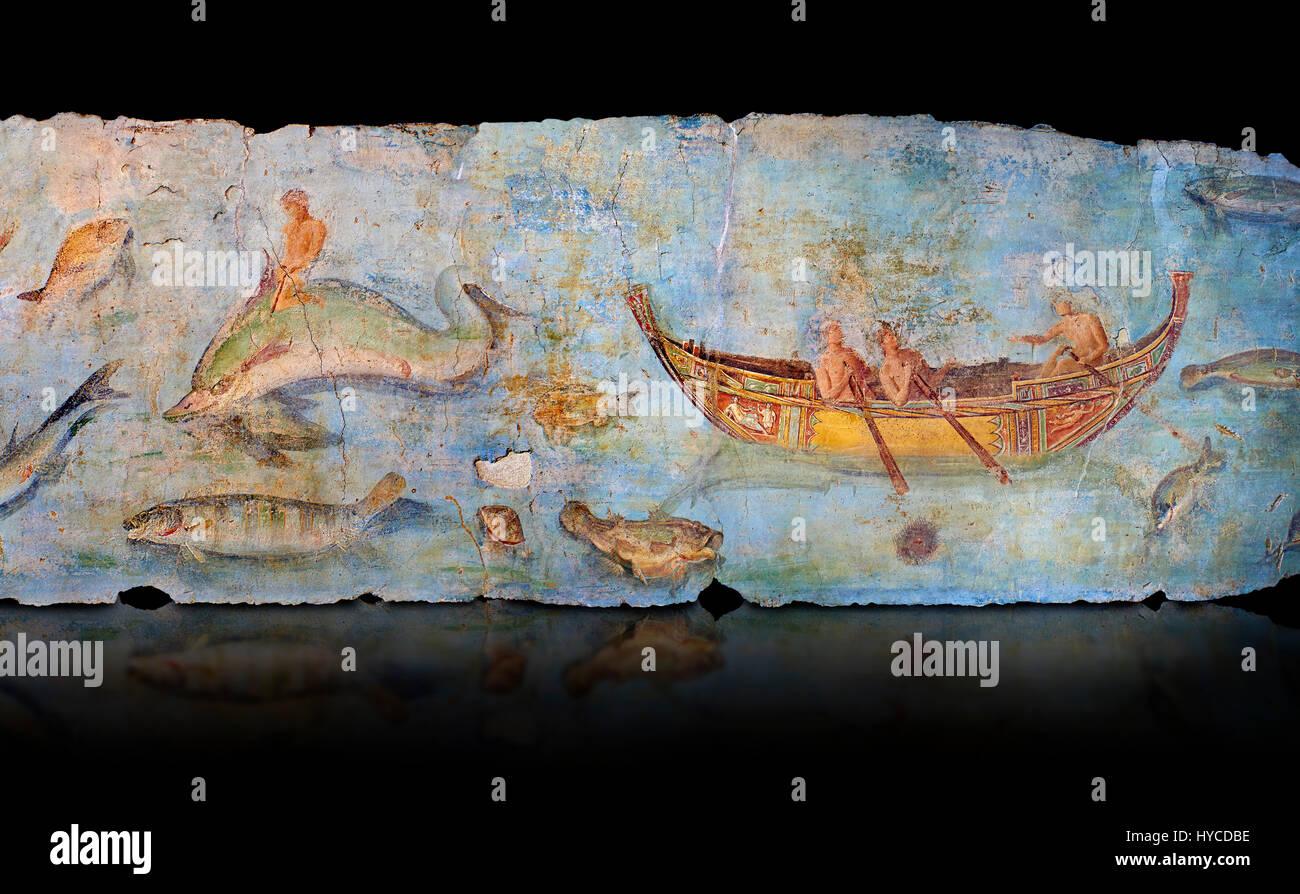 Roman Fresco with boats and marine life from the second quarter of the first century AD. (mosaico fauna marina da Stock Photo