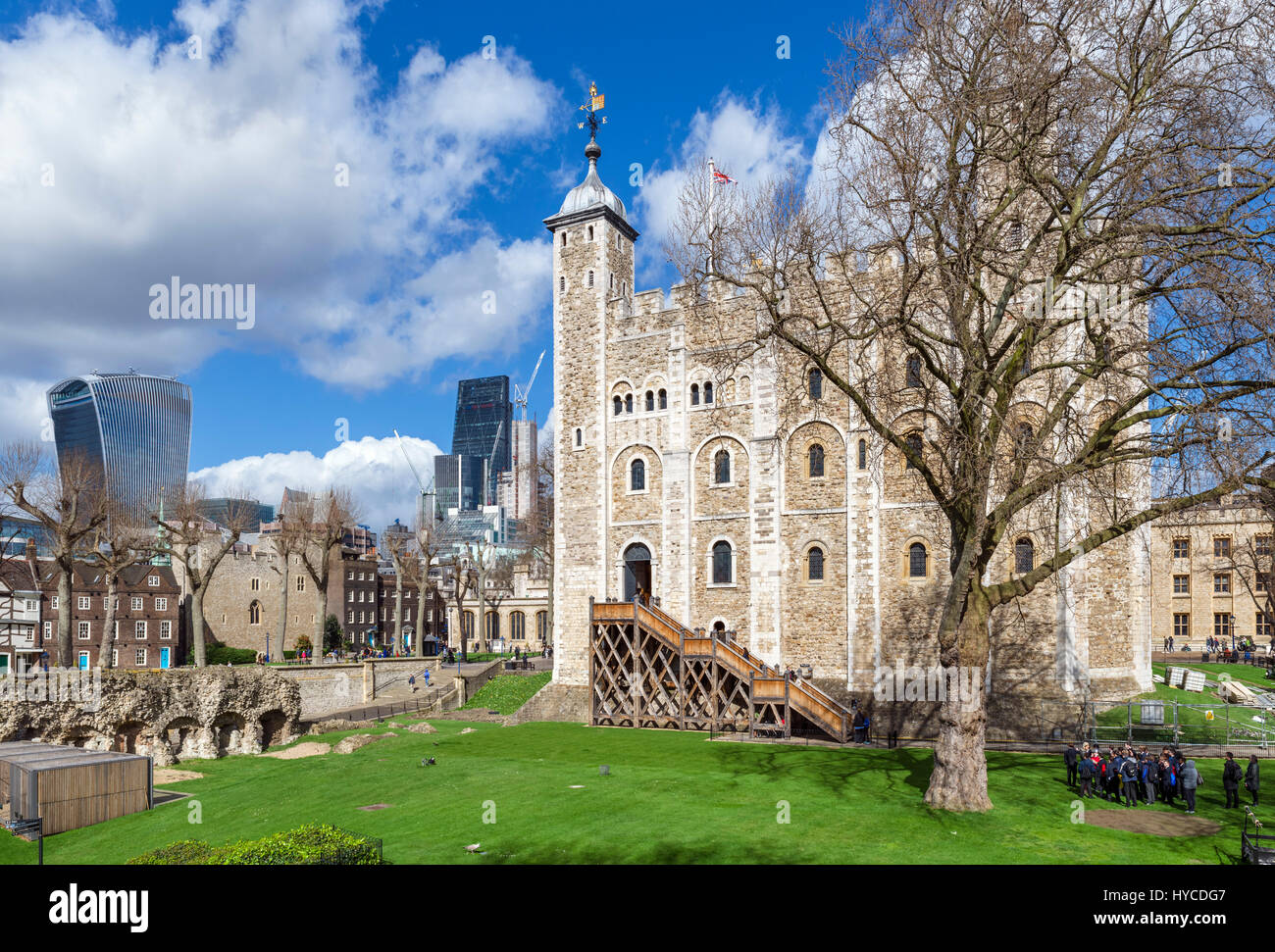 Tower of London. The White Tower with the Walkie Talkie building (20 Fenchurch Street) behind, Tower of London, - Stock Image
