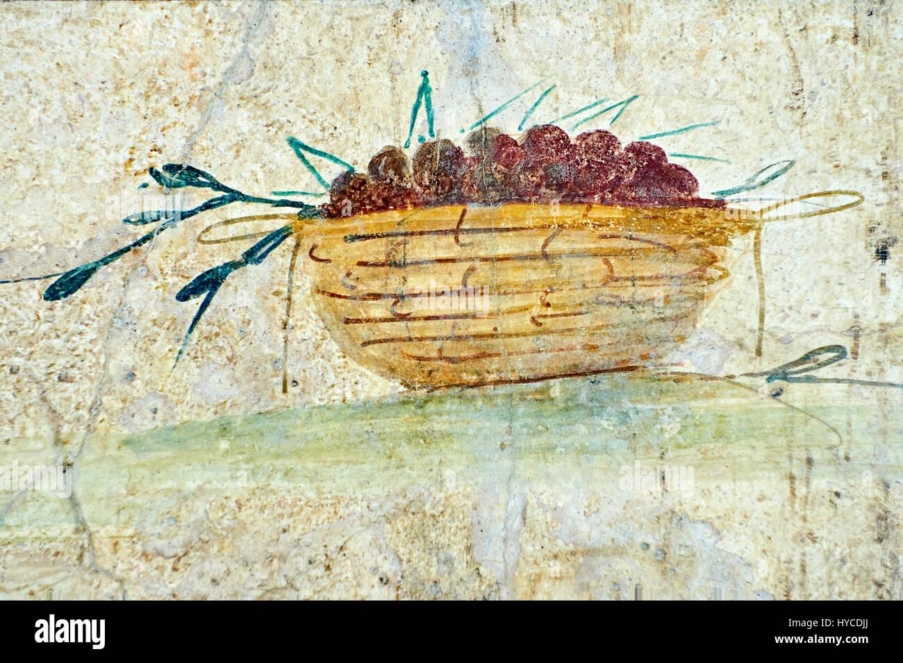 Roman Fresco of a fruit from The Large Columbarium in Villa Doria ...