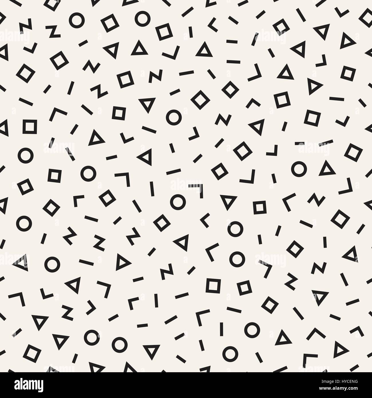 Scattered Geometric Line Shapes. Abstract Background Design. Vector Seamless Black and White Pattern. - Stock Image