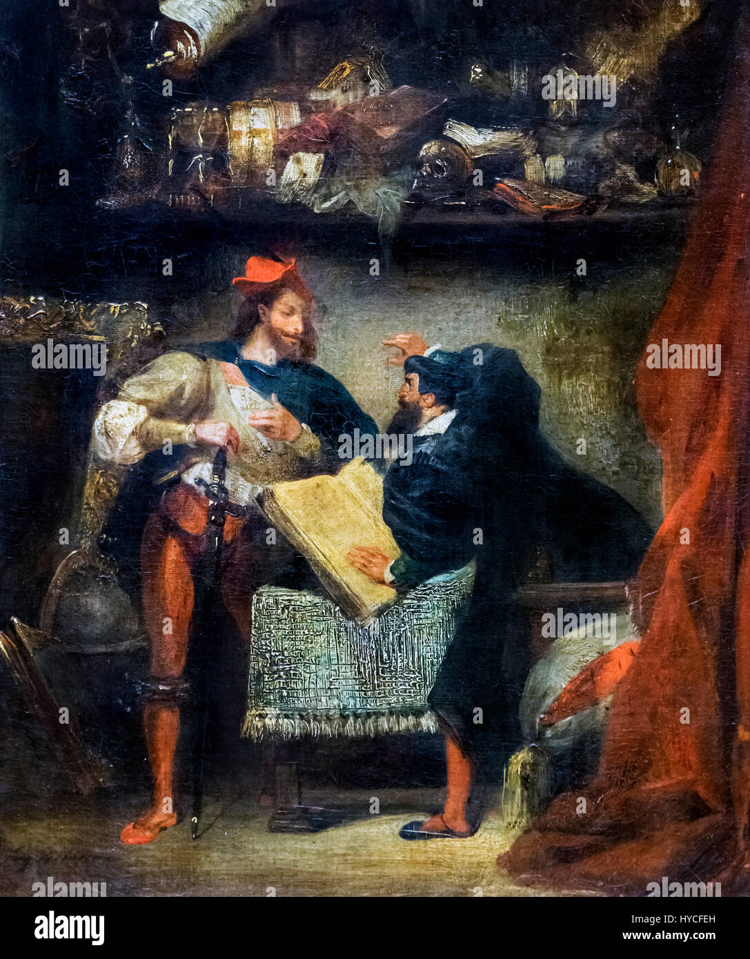 Faust and Mephistopheles by Eugene Delacroix, oil on canvas, c.1827-28 - Stock Image