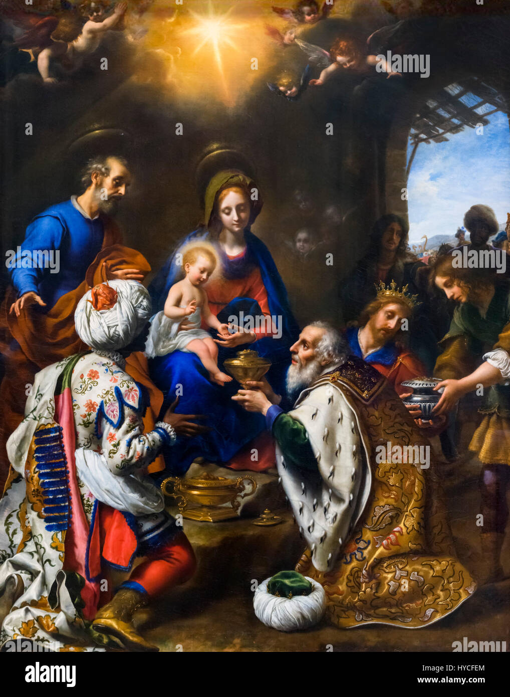 Nativity Scene. The Adoration of the Kings by Carlo Dolci (1616-1686), oil on canvas, 1649. Baby Jesus receiving - Stock Image