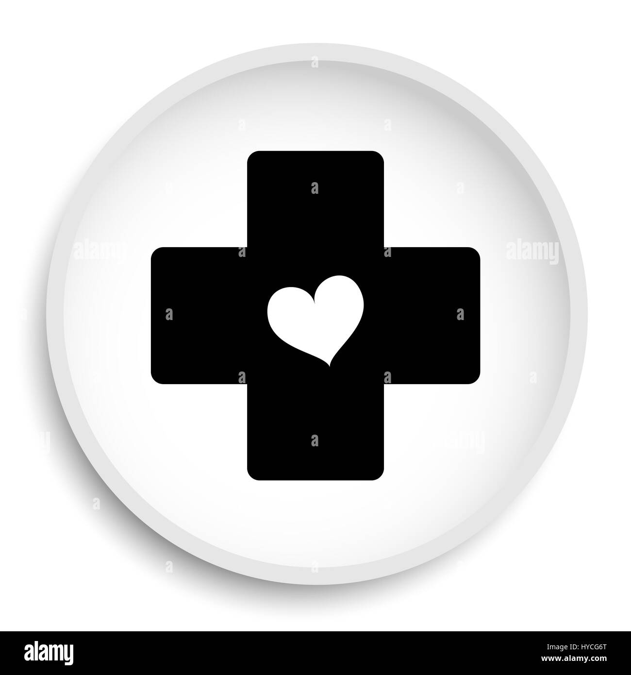 cross with heart icon cross with heart website button on white