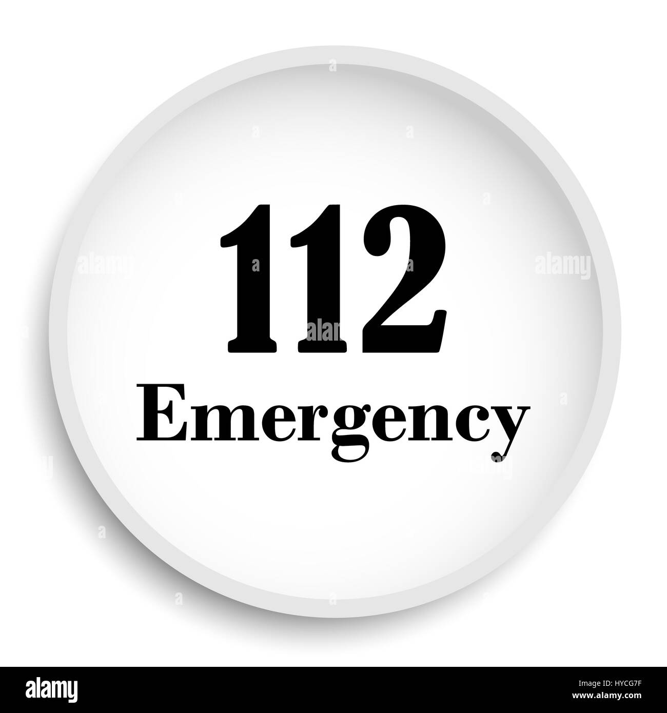 112 Emergency icon. 112 Emergency website button on white background. - Stock Image